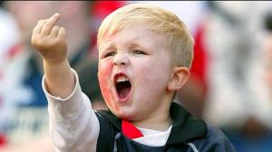 NLD29 - 20020508 - ROTTERDAM, NETHERLANDS : A very young Feyenoord Rotterdam supporter makes a rude gesture during the UEFA Cup final match against Borussia Dortmund in Rotterdam on Wednesday, 08 May 2002. EPA PHOTO ANP/JASPER JUINEN/CSS-ms